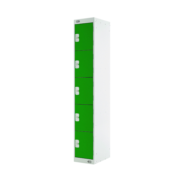 Five Compartment Locker D450mm Green Door (Dimensions: H1800 x W300 x D450mm)