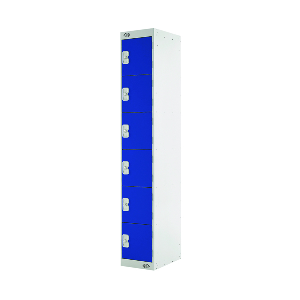 Six Compartment Locker D450mm Blue Door