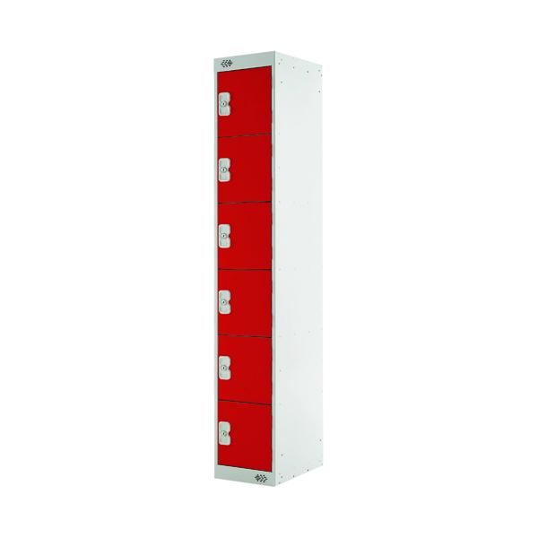 Six Compartment Locker D450mm Red Door MC00071