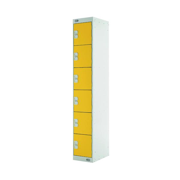 Six Compartment Locker D450mm Yellow Door (Dimensions: H1800 x W300 x D450mm)