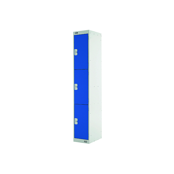 Express Standard Locker 3 Door W300xD300xH1800mm Light Grey/Blue