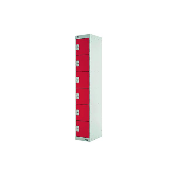 Six Compartment Express Standard Locker D300mm Red Door