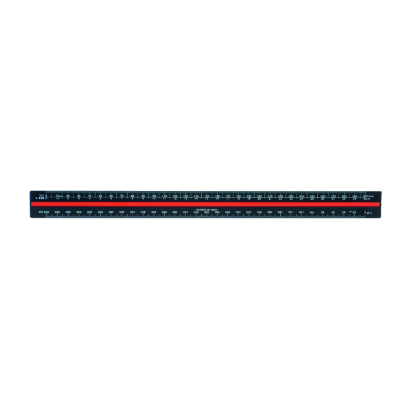 Linex Triangular Scale Ruler 1:1-2500 30cm Aluminium Black H382