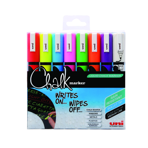 Uni-Ball UniChalk Chalk Marker Medium Assorted (Pack of 8) 153494341