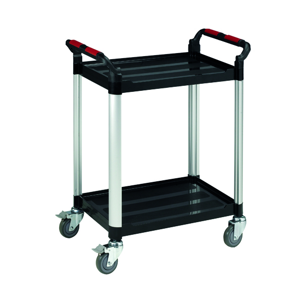 Barton Black and Silver 2 Shelf Standard Plastic Trolley White WHTT2SS