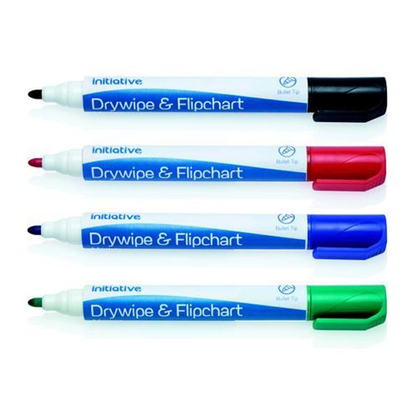 Initiative Drywipe and Flipchart Marker Xylene Free Water Resistant Assorted Wallet 4