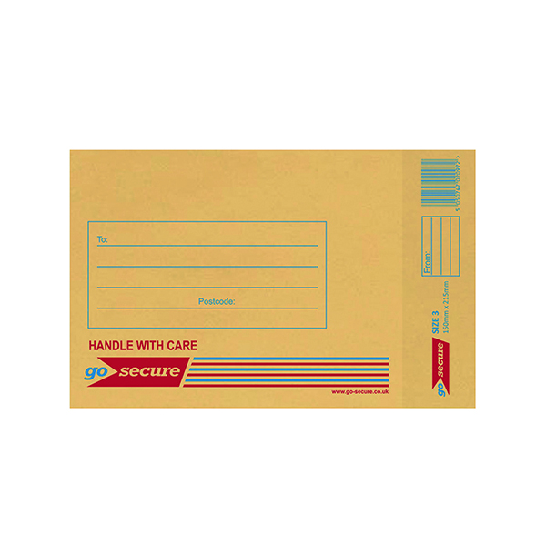 GoSecure Bubble Lined Envelope Size 3 140 x 195mm Gold (Pack of 100)