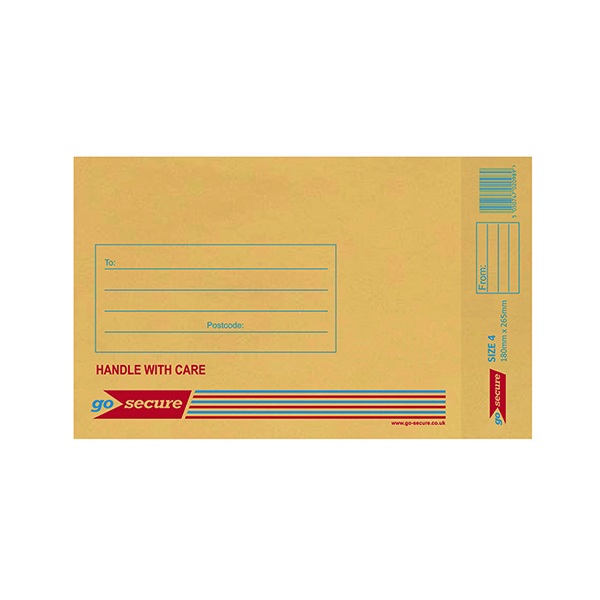 GoSecure Bubble Lined Envelope Size 4 180x260mm Gold (Pack of 100)