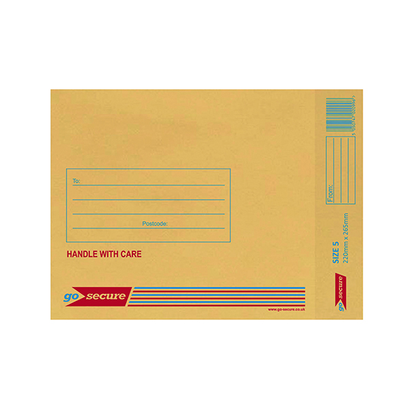 GoSecure Bubble Lined Envelope Size 5 205 x 260mm Gold (Pack of 100) ML10050