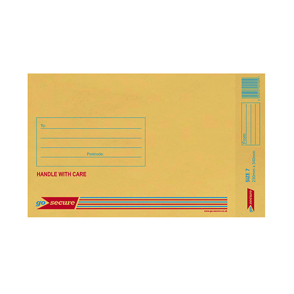 GoSecure Bubble Lined Envelope Size 7 240 x 320mm Gold (Pack of 50) ML10054