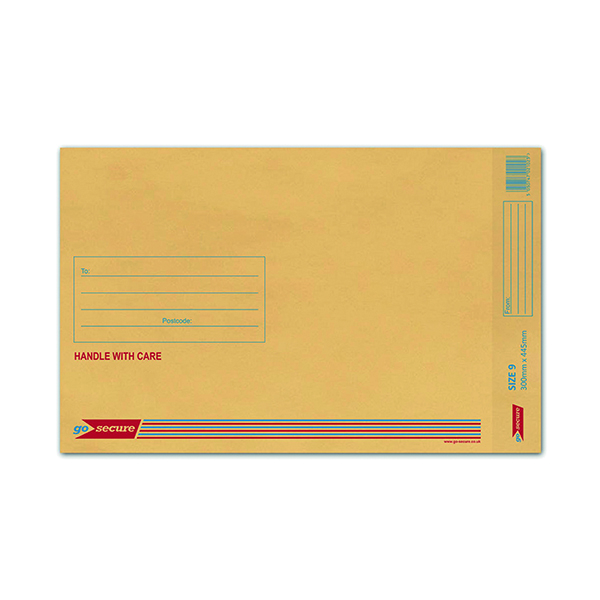 GoSecure Bubble Lined Envelope Size 9 290 x 435mm Gold (Pack of 50) ML10058