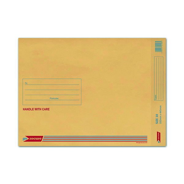GoSecure Bubble Lined Envelope Size 10 340 x 435mm Gold (Pack of 50) ML100062
