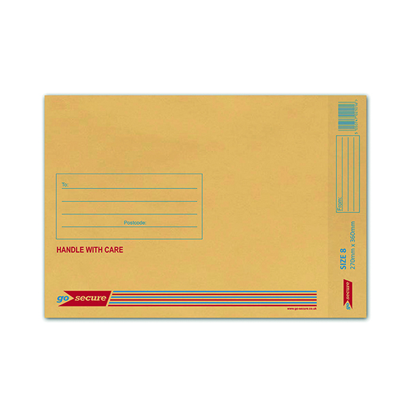 GoSecure Bubble Lined Envelope Size 8 270x360mm Gold (Pack of 50)