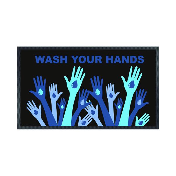 Wash Your Hands Mat 85 x 150cm Black 19258646