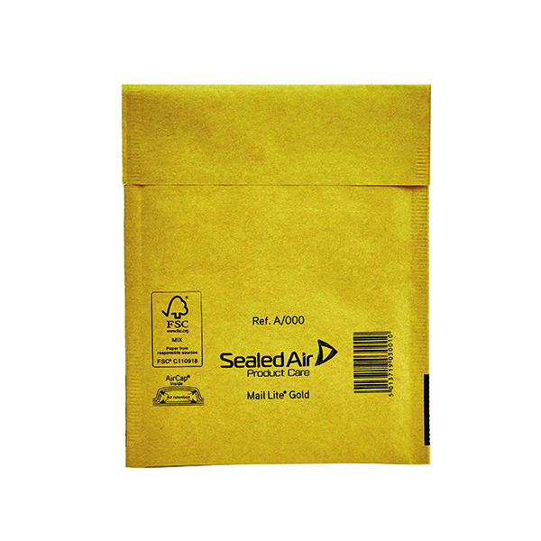 Mail Lite Bubble Lined Postal Bag Size A/000 110x160mm Gold (Pack of 100) 103049052