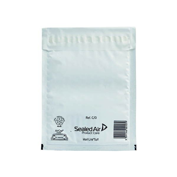 Mail Lite Tuff Bubble Lined Postal Bag Size C/0 150x210mm White (Pack of 100) 103015250