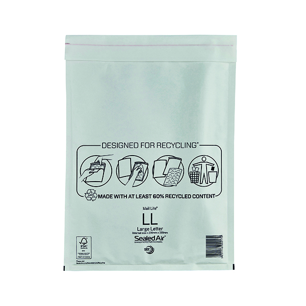 Mail Lite Bubble Lined Postal Bag Size LL 230x330mm White (Pack of 50) MAIL LITE LL
