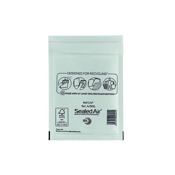 Mail Lite Bubble Lined Postal Bag Size A/000 110x160mm White (Pack of 100) MLW A/000