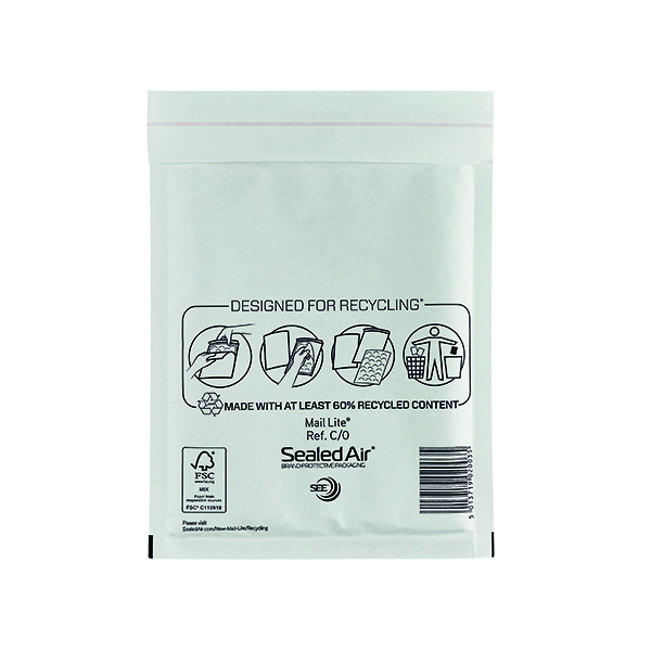 Mail Lite Bubble Lined Postal Bag Size C/0 150x210mm White (Pack of 100) MLW C/0