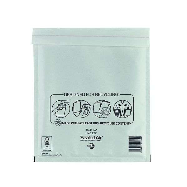 Mail Lite Bubble Lined Postal Bag Size E/2 220x260mm White  (Pack of 100) MLW E/2