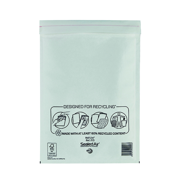 Mail Lite Bubble Lined Postal Bag Size F/3 220x330mm White  (Pack of 50) MLW F/3