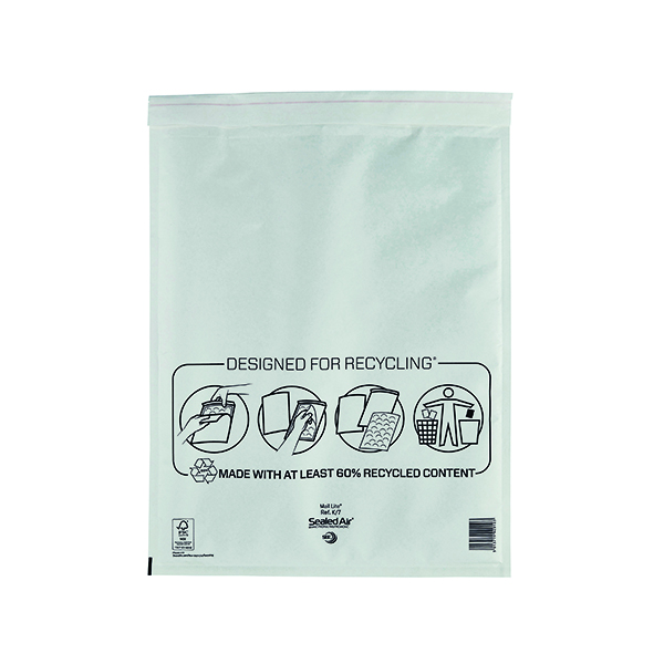 Mail Lite Bubble Lined Postal Bag Size K/7 350x470mm White (Pack of 50) MLW K/7