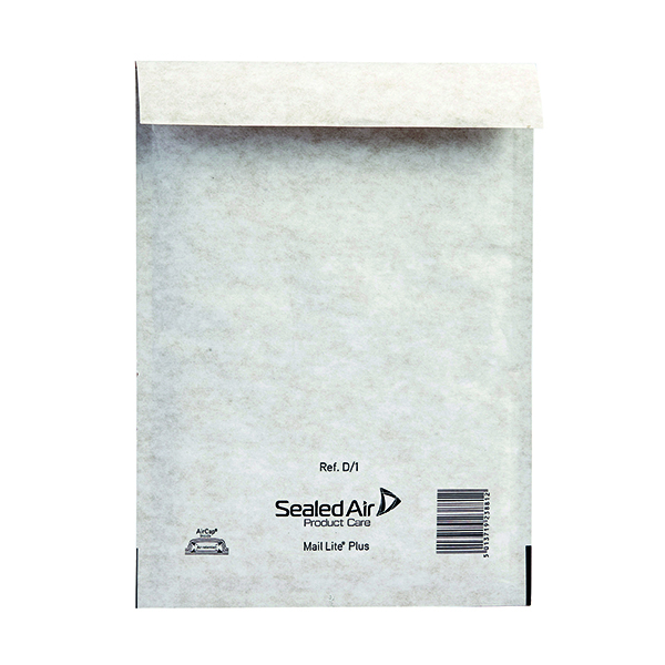 Mail Lite Plus Bubble Lined Postal Bag Size D/1 180x260mm Oyster White (Pack of 100) MLPD/1