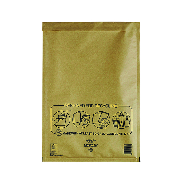 Mail Lite Bubble Lined Postal Bag Size J/6 300x440mm Gold (Pack of 50) MLGJ/6