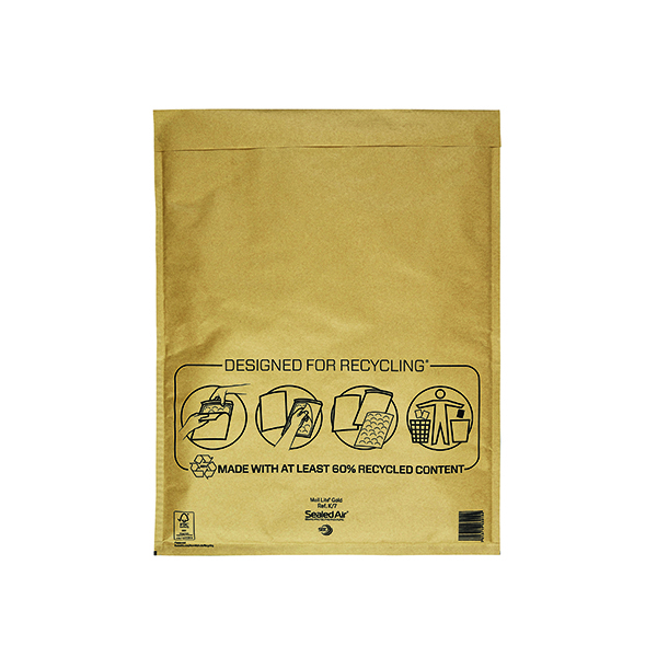 Mail Lite Bubble Lined Postal Bag Size K/7 350x470mm Gold (Pack of 50) MLGK/7