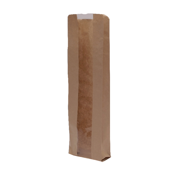 MyCafe Kraft Window Baguette Bags 100x150x355mm Brown (Pack of 1000) 303251