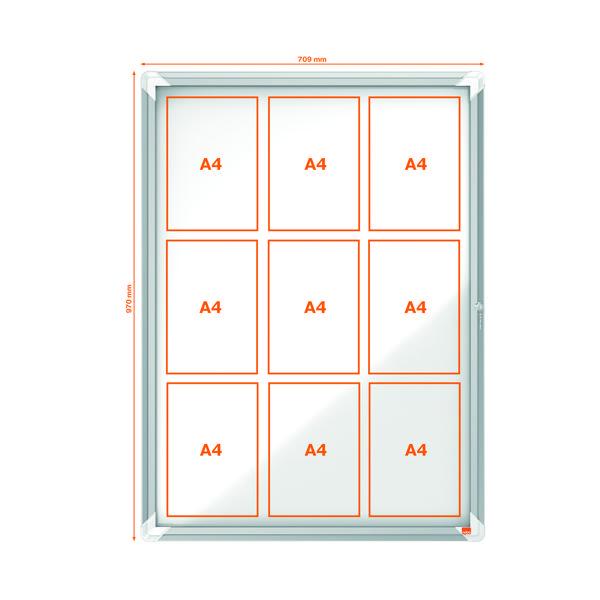 Nobo Internal Glazed Case Magnetic 9 x A4 White 1902560