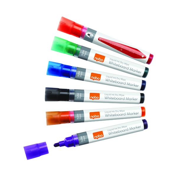 Nobo Liquid Ink Drywipe Marker Assorted (Pack of 6) 1901077