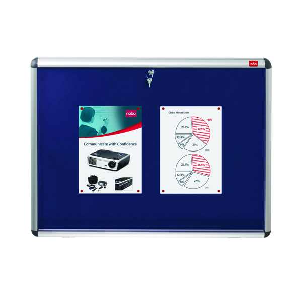 Nobo Internal Display Case A0 Blue Felt 1060x1350mm 1902049