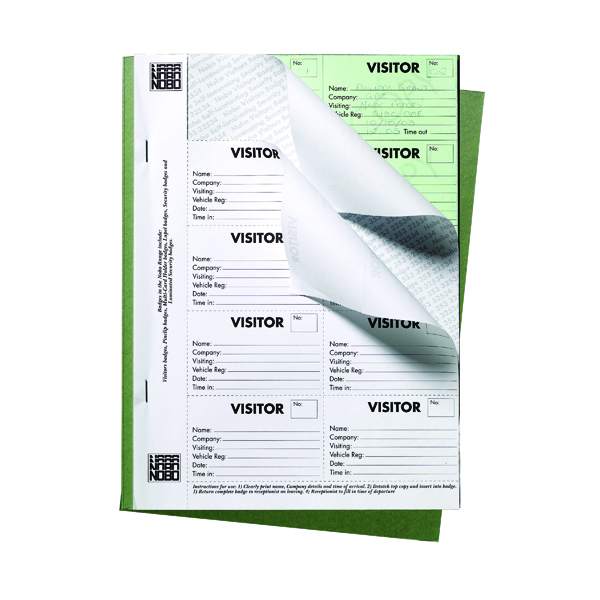 Image for Nobo 25 Page Visitors Badge Slip Book 35334941