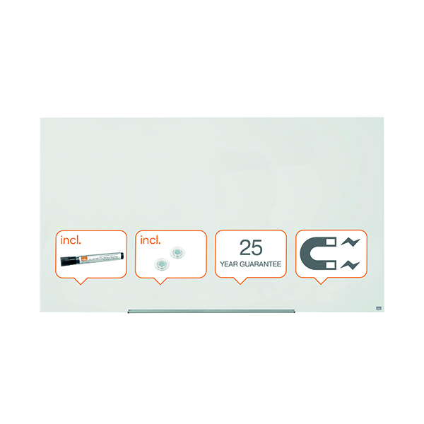 Nobo Diamond Magnetic Glass Board White 1883x1053mm 1905178