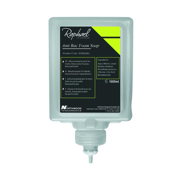 Raphael 1000ml Antibac Foam Soap Cartridges (Pack of 6) SOABARA
