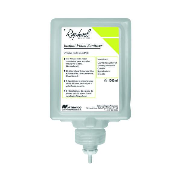 Raphael Alcohol Free Hand Sanitiser 1L (Pack of 6) SOSANRA