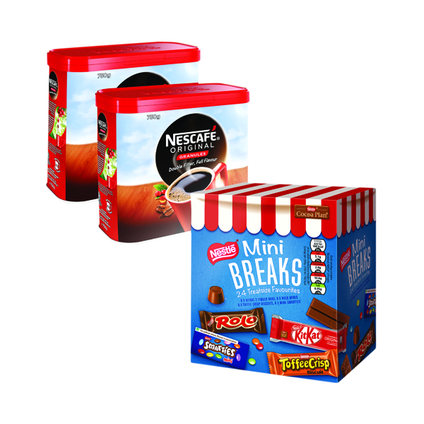 Nescafe Original 2x750g FOC Mini Breaks Mixed Selection (Pack of 24)