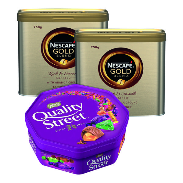 Nescafe Gold Blend 750g (Pack of 2) FOC Quality Street 650g
