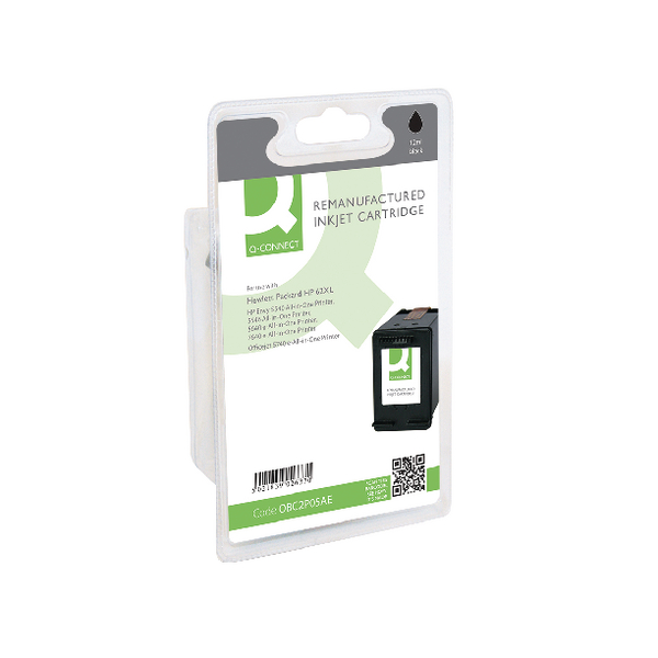 Q-Connect HP 62XL Inkjet Black Cartridge (Capacity: 12ml) C2P05AE