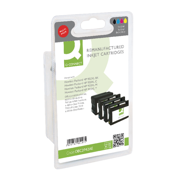 Q-Connect HP 932XL/933XL Inkjet Cartridge Colour (Pack of 4) C2P42AE-COMP
