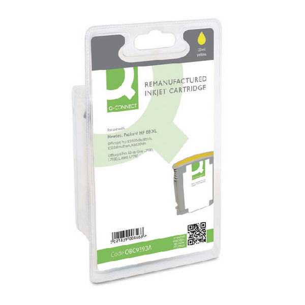 Q-Connect HP 88XL Remanufactured Yellow Inkjet Cartridge High Yield C9393A
