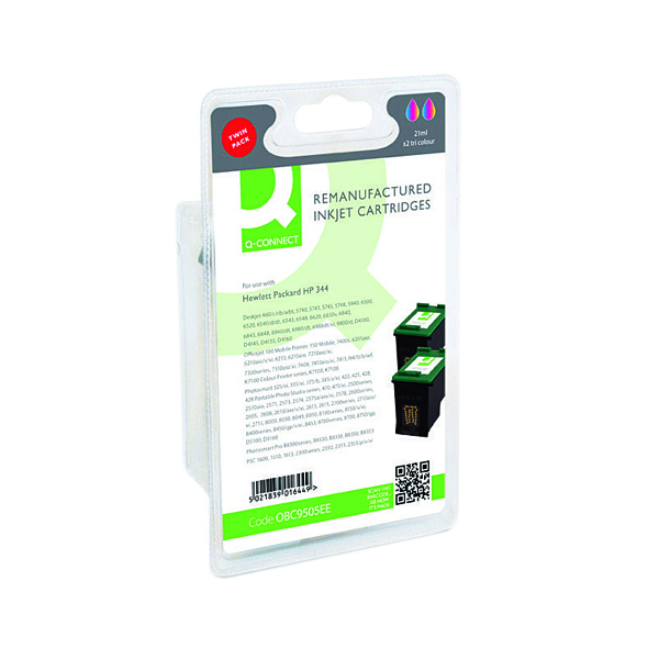 Q-Connect HP 344 Remanufactured Colour Inkjet Cartridge (Pack of 2) C9505EE-COMP