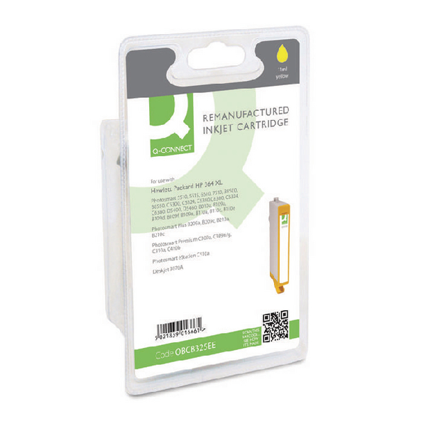 Q-Connect HP 364XL Remanufactured Yellow Inkjet Cartridge High Yield CB325EE