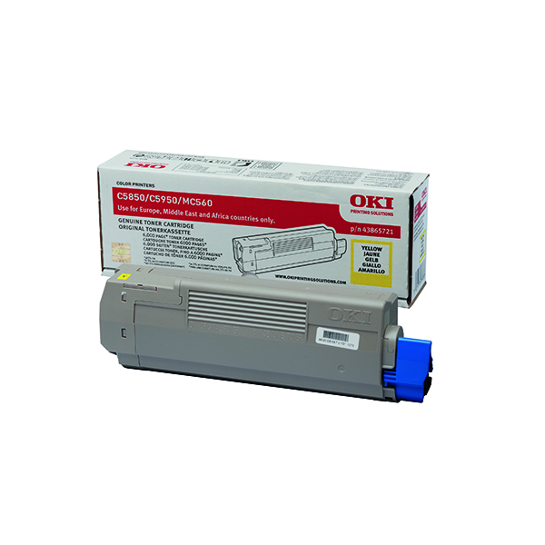 Oki Yellow Toner Cartridge (6,000 Page Capacity) 43865721