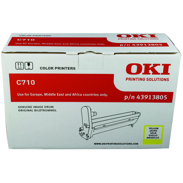 Oki C710 Yellow Image Drum (15,000 Page Capacity) 43913805