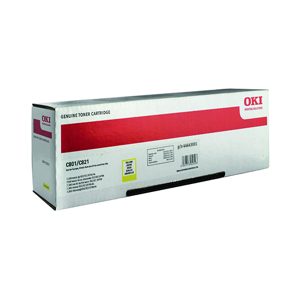 Oki Yellow Toner Cartridge (7,300 Page Capacity) 44643001