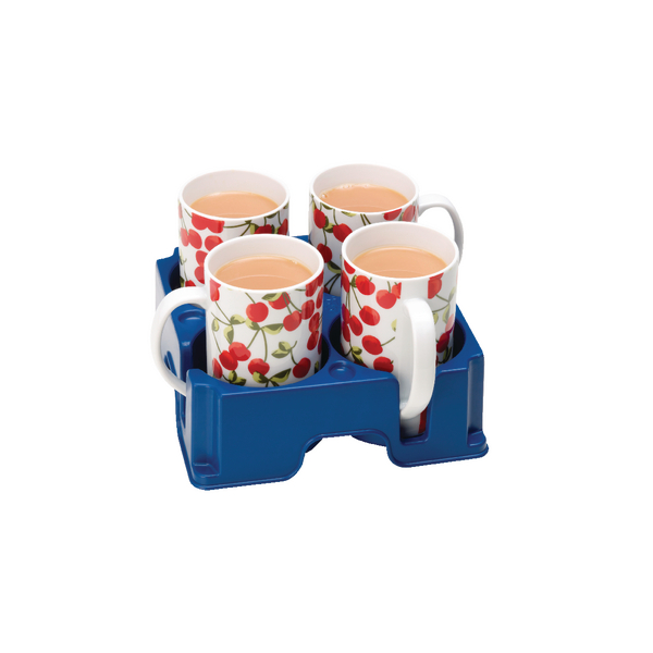 Muggi Blue 4 Mug Drinks Holder / Carrier - (Made from tough, 100% recyclable polypropylene) MUG002