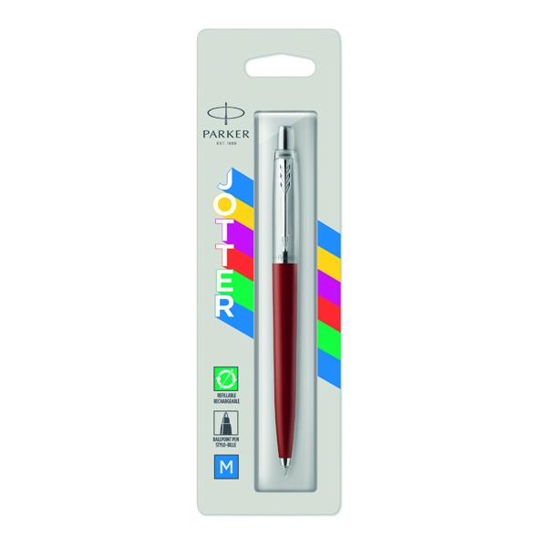 Parker Jotter Ballpoint Pen Medium Tip Red Barrel Blue Ink 2096857