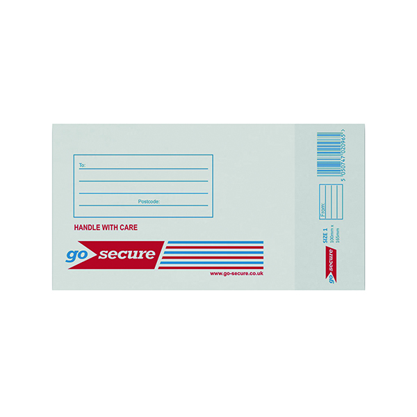 GoSecure Bubble Lined Envelope Size 1 100x165mm White (Pack of 20)
